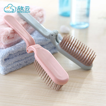 Travel portable folding comb carry hotel household comb plastic thickened small straight hair curly soft tooth comb