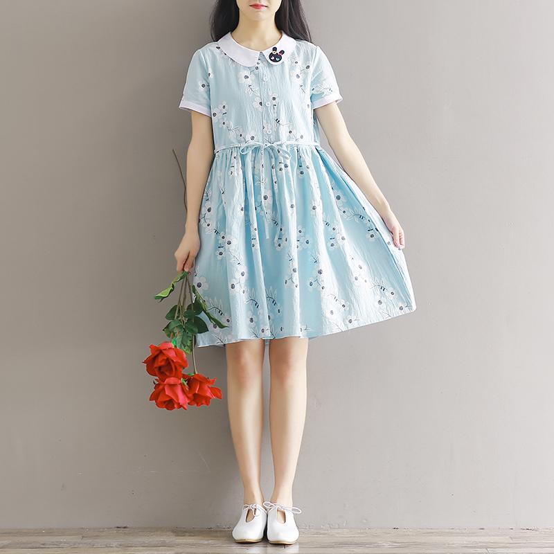 16高初中学生11卡通可爱连衣裙春夏12棉麻少女装13岁14女孩裙子15