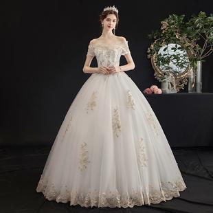 主婚紗2020新款新娘女一字肩簡約森系夢幻法式超仙顯瘦齊地輕紗裙