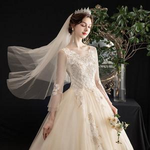 韩式轻婚纱2020新款气质新娘森系一字肩长袖超仙梦幻简约公主纱裙