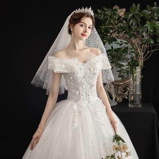 主婚紗2020新款氣質新娘女一字肩森系簡約法式星空超仙夢幻輕紗裙