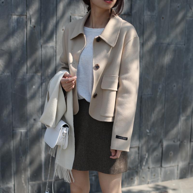 Korean Milk camel suit double face cashmere coat full wool short woolen coat women