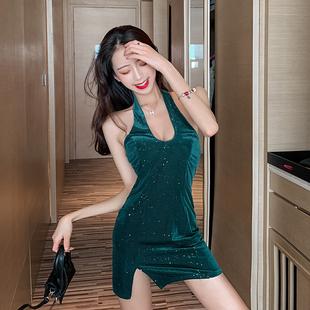網紅蹦迪裙冷淡風女裝感掛脖連衣裙夏露揹包臀裙短裙性感緊身