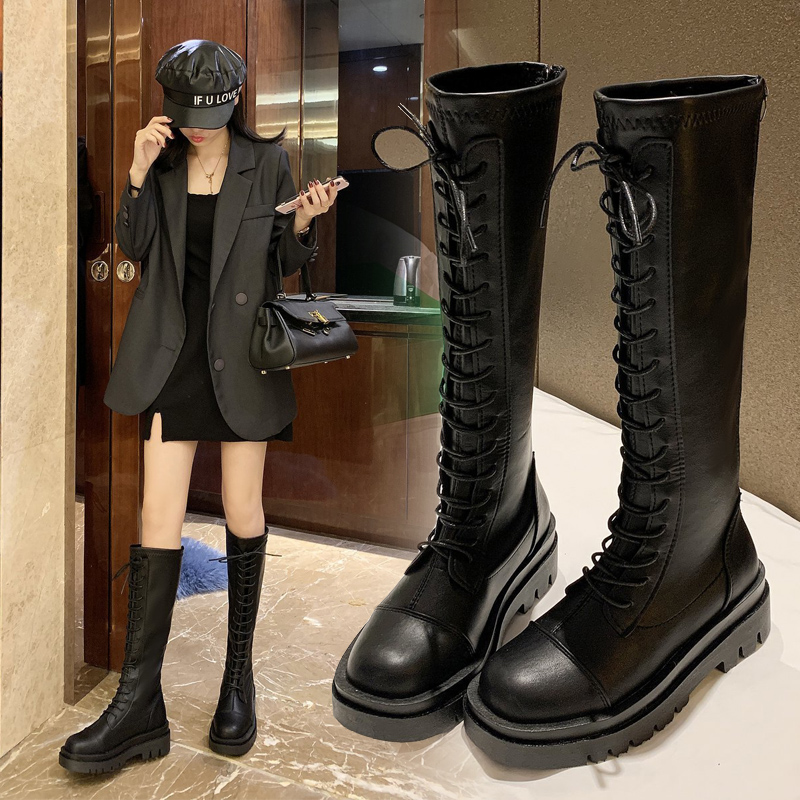 Womens boots fall and winter 2020 new small Martin womens shoes versatile thin high tube Knight Knee Boots