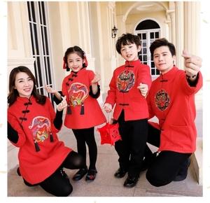 红色拜年服宝宝男冬婴儿孩子 过年服周岁裤子吉祥时尚亲子装童装