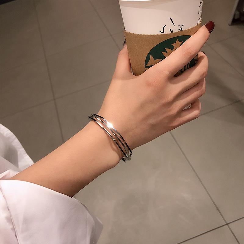Ins fashion 3D visual geometry opening Bracelet female hand jewelry net red cool wind small Design Bracelet cool Bracelet