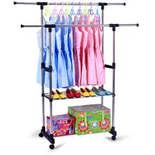 Simple stainless steel clothes hanger, floor type, lifting, folding, indoor drying and hanging, single pole, double pole type
