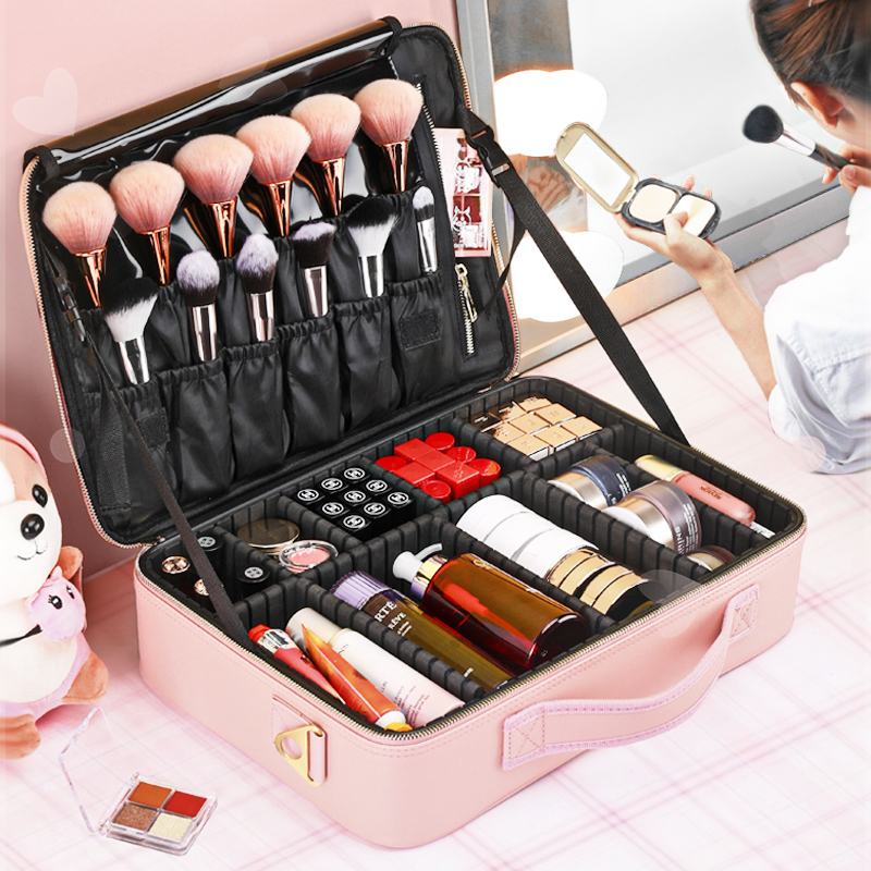 Cosmetic bag 2020 new super fire female portable large-capacity travel cosmetic storage box professionalist suitcase box