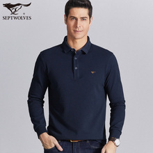 Seven wolves long sleeve t-shirt men's new spring pure cotton Lapel casual polo shirt spring and autumn bottoming