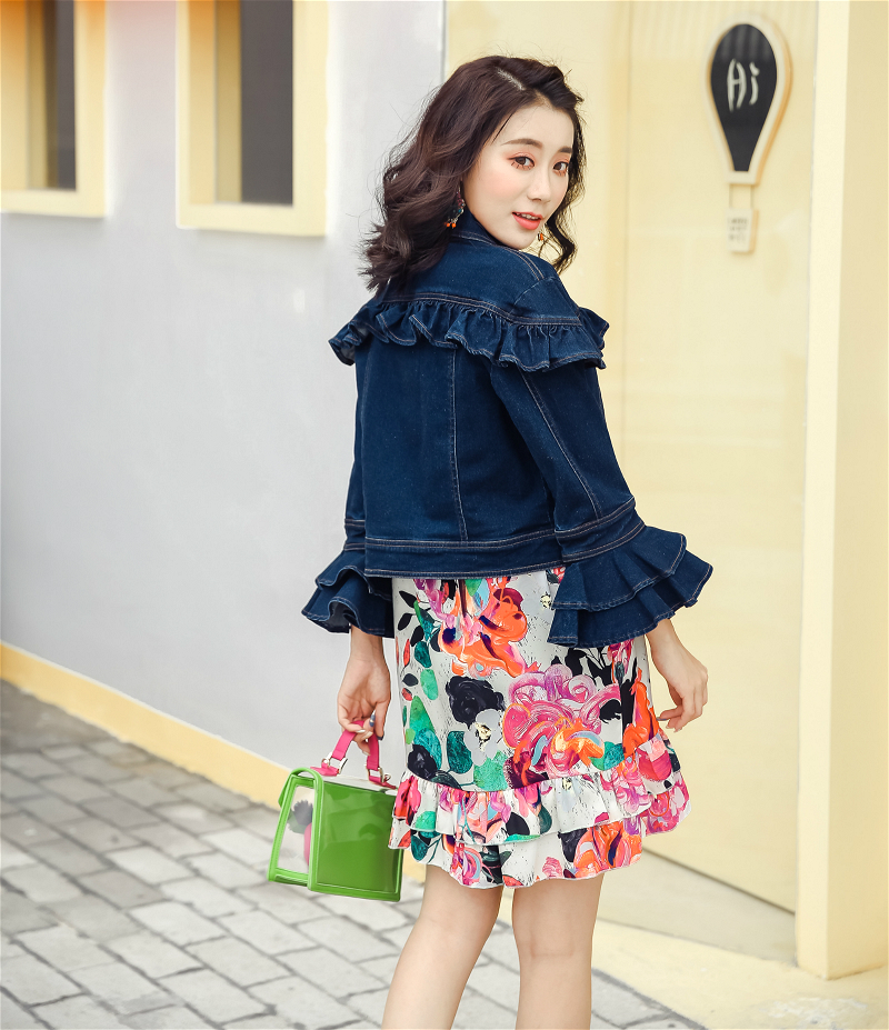 Fall in love with spring and autumn lotus lace micro elastic jeans horn Quarter Sleeve Jacket short coat dark womens clothing