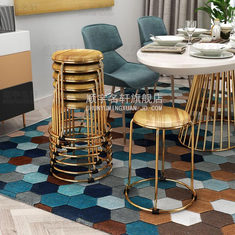 钛金色实木圆凳火烧橡木凳子快餐厅餐馆小吃店食堂家用餐凳椅高凳