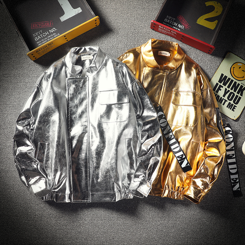 Male and female students silver gold bright jacket young couple ins leather hip hop dance stage Pu coat