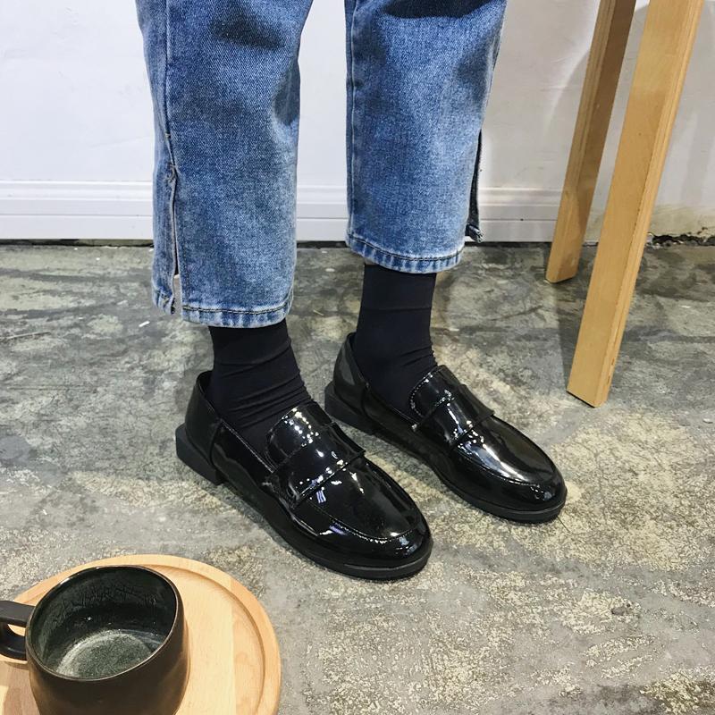 chic单鞋女复古2019新款韩版气质百搭浅口鞋英伦学院风休闲小皮鞋
