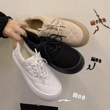 韩版单鞋女2020冬季新款时尚百搭加绒平底保暖棉鞋厚底复古乐福鞋