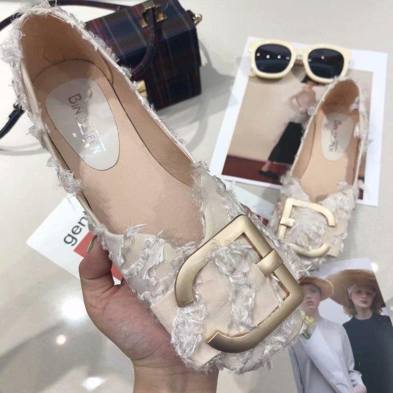 2018夏季新款时尚百搭平跟韩版方头平底单鞋女士通勤浅口女鞋子潮
