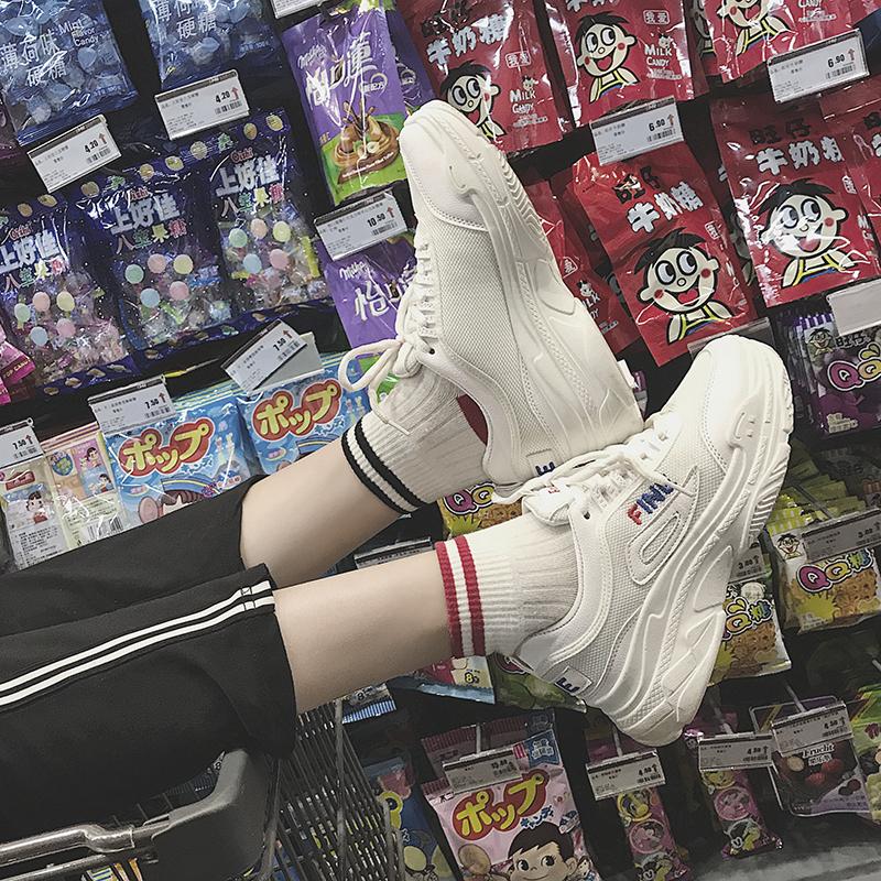 运动鞋女夏季2018新款韩版ulzzang原宿透气网面小白鞋厚底女鞋