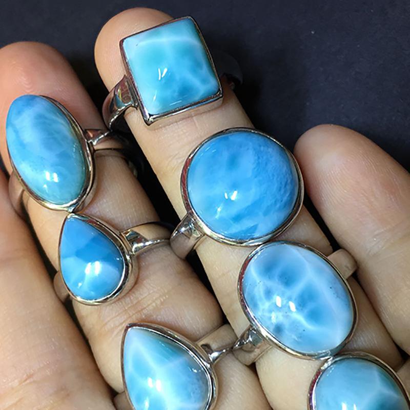 拉利玛手链单圈多米尼加天然宝石手串女海纹石吊坠单珠散珠寒素