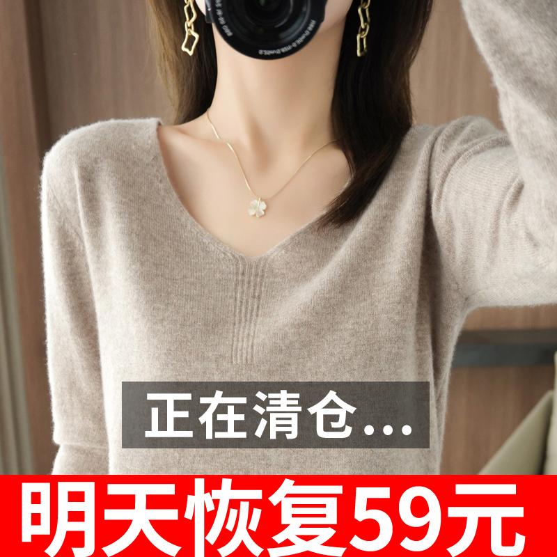秋冬款V领羊绒衫女内搭短款毛衣宽松显瘦纯色长袖羊毛针织打底衫