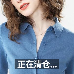 春秋新款羊绒POLO针织衬衫韩版宽松短款薄款开衫慵懒风毛衣女外套