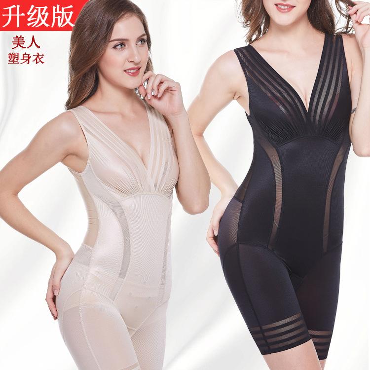 曲线美新品薄款性感条纹收腹束腰塑身内衣美人束身衣平角开裆产后