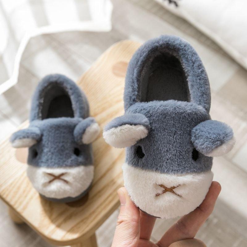 幼童鞋冬季女童短靴家居卡通冬鞋婴儿皮鞋2019年秋季亲子毛毛小童