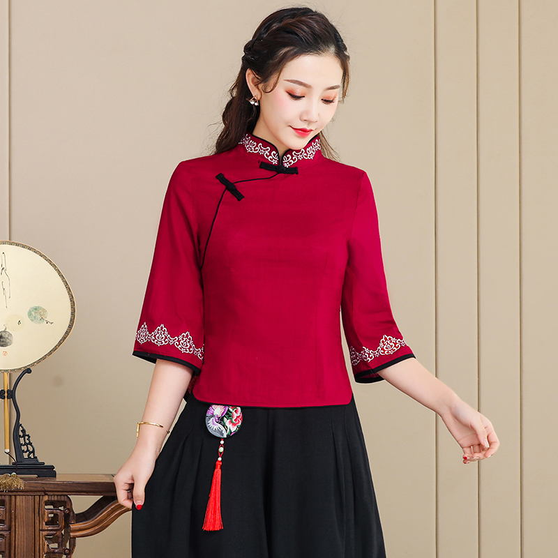 New ethnic style womens dress in spring and summer of 2019 Chinese stand collar coil button cotton hemp Embroidered Flower Quarter Sleeve T-Shirt blouse