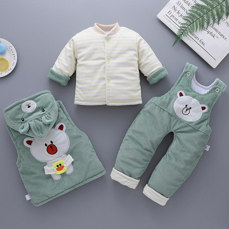 宝宝棉衣冬装套装男0一3个月婴儿衣服秋冬季加厚三件套新生儿棉袄图片