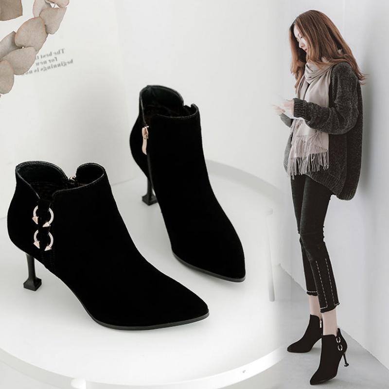 2019新款女韩版高跟鞋女细跟秋冬季短靴女尖头裸靴时装靴20