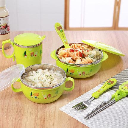 新款不锈钢儿童碗餐具套装宝宝碗抗摔隔热保温碗练习筷勺叉哺食碗
