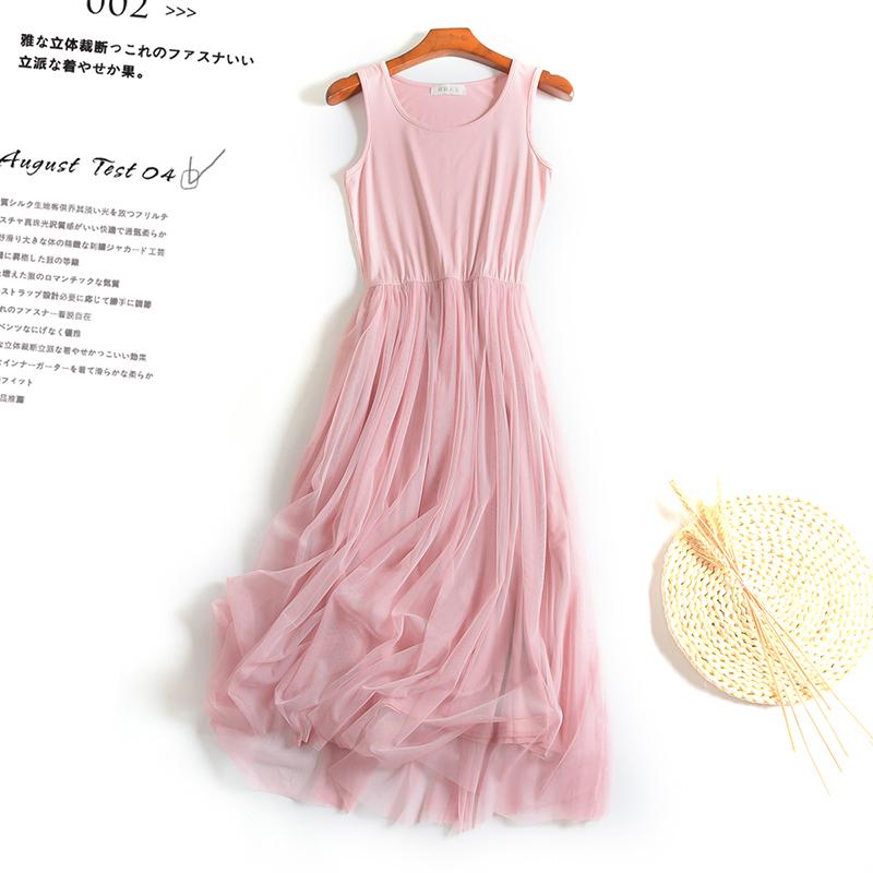 网纱连衣裙女纯色吊带打底裙大码背心蕾丝裙仙女裙莫代尔内搭长裙限时抢购