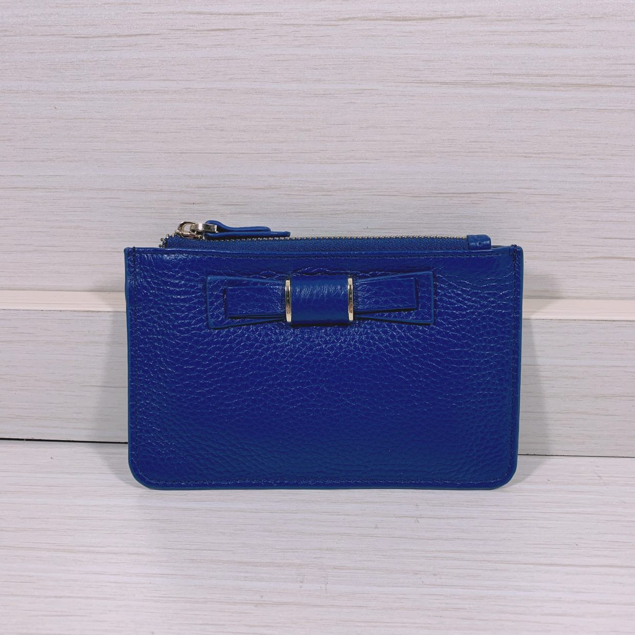 2020 new womens zipper bow real pickup bag top layer cowhide Coin Purse key bag card space wallet thin