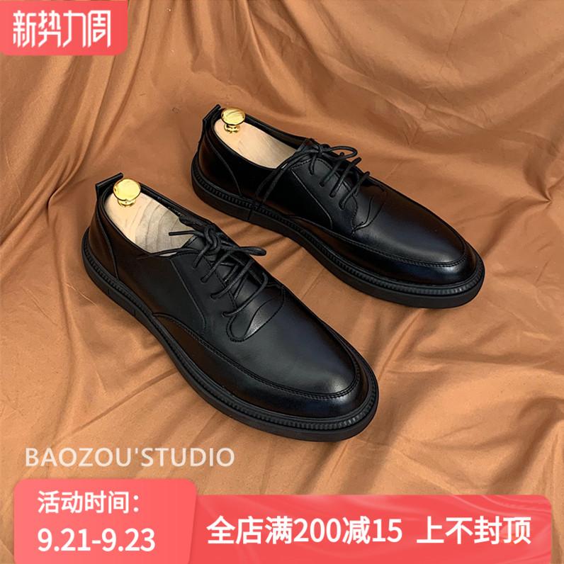 抱走推土机韩版英伦绅士百搭休闲商务亚光黑色系带皮鞋男小皮鞋