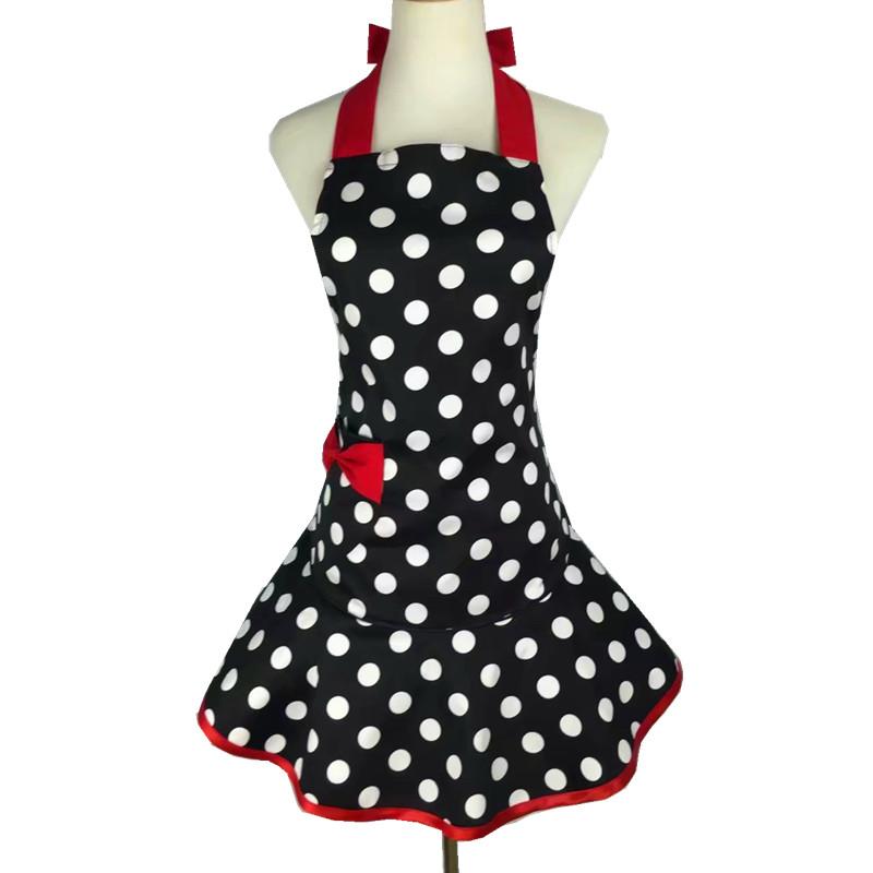 围裙纯棉大圆点韩版公主美甲美容厨房烘焙红色蝴蝶结口袋围腰包邮