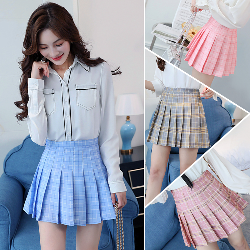 2020 new Korean version of ulzzang Plaid womens spring and summer A-line half pleated short skirt chic high waist ins