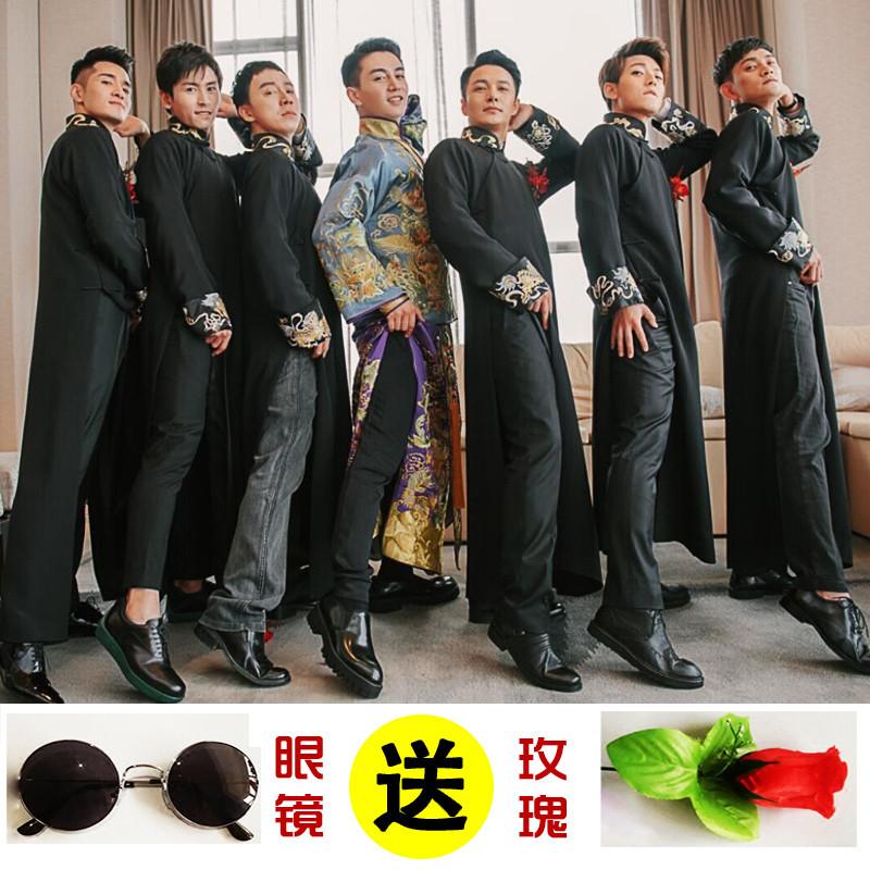 伴郎服中式婚礼唐装伴娘服民国古装中国风长衫长袍礼服男兄弟装