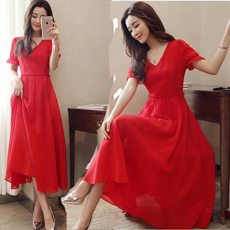 2018夏季新款结婚敬酒服新娘订婚回门衣服红色伴娘礼服雪纺连衣裙