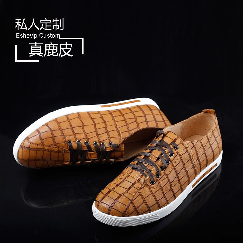 春季男鞋 私人订制真鹿皮男士休闲板鞋 真皮浅口系带平底鞋男黄色