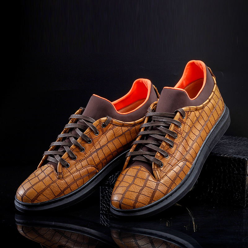 High end private custom-made new real deer leather mens lace up board shoes light flat bottom light luxury leather casual shoes