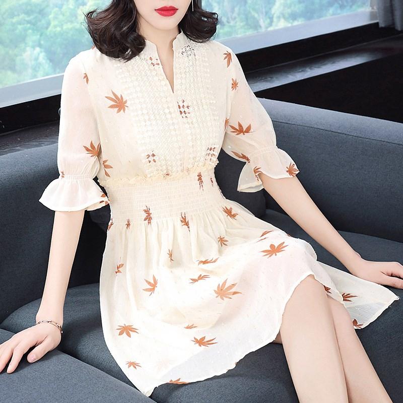 欧巴宝莉安娜原创女装夏装新款雪纺印花连衣裙收腰显瘦知性熟女装