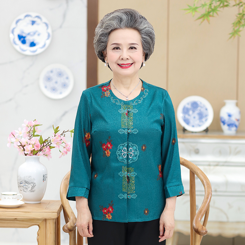 Mothers Day gift: Grandmas top, button down shirt, 9-point sleeve, middle-aged and old peoples top, exquisite embroidered bottom coat