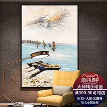 Pure hand-painted landscape oil painting seaside boat Harbor modern simple corridor decorative wall art hanging decorative painting