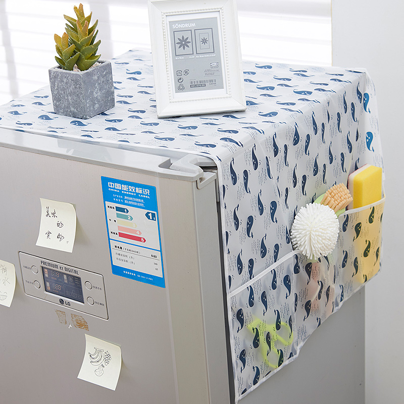 Домой водонепроницаемый холодильник обложка тканевая пылезащитный чехол холодильник покрытия полотенце домой лед кабинет топ висит сумка холодильник крышка чистый черный мешок