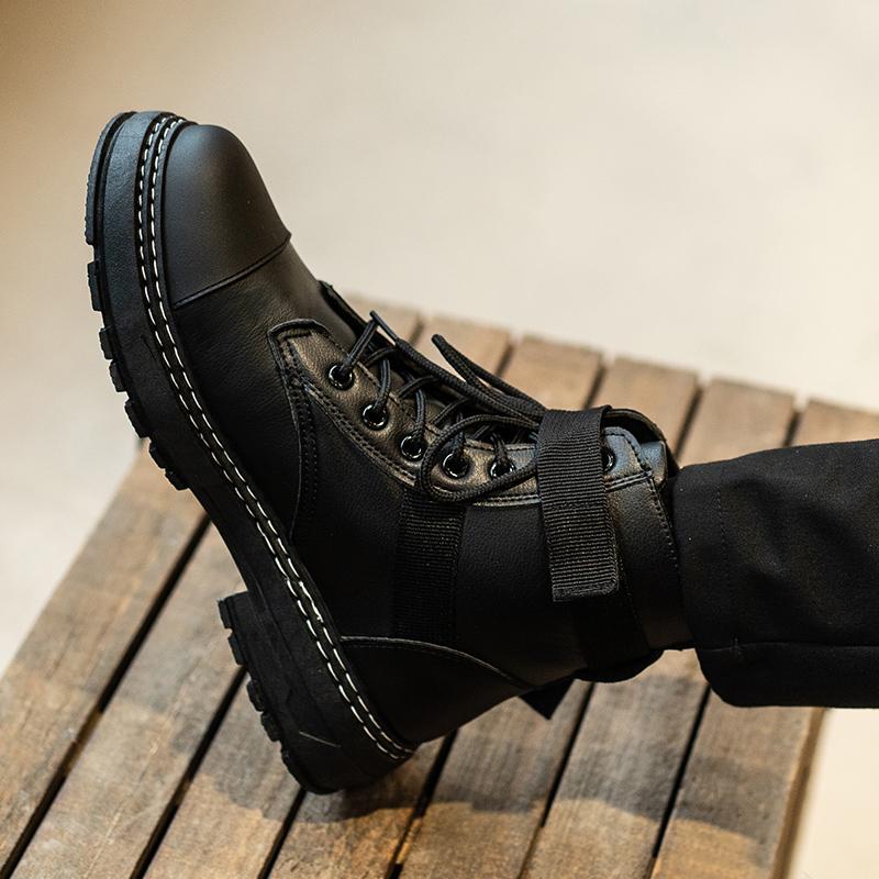 春款高帮马丁靴男透气英伦风工装短靴子男韩版潮黑色百搭帅气皮靴