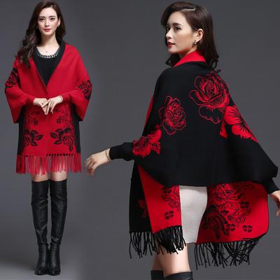 披肩女秋冬款斗篷式外套中长款流苏宽松针织开衫加厚毛衣羊毛外搭