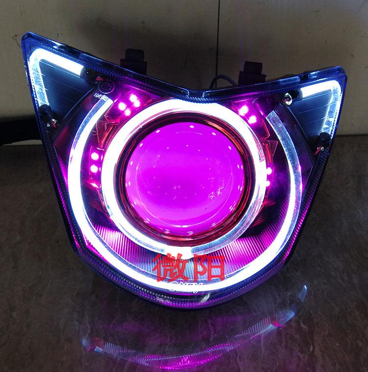 微阳飞鹰鬼火1 RSZ一代摩托车透镜改装Q5氙气灯天使恶魔眼HID总成