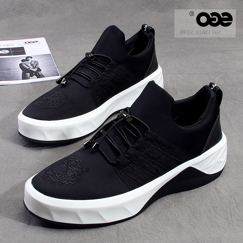 Spring and summer new cloth shoes mens Lefu shoes heighten thick soled sports and leisure mens shoes European and American white soled blackboard shoes