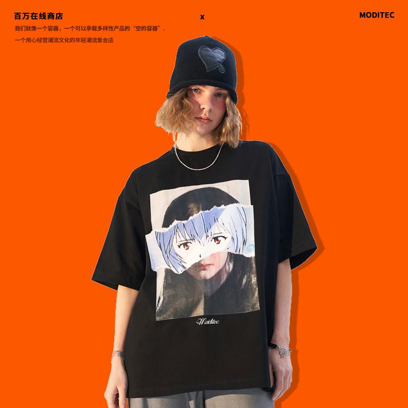 MODITEC 拼贴绫波丽eva漫画趣味印花纯棉短袖休闲宽松涂鸦T恤
