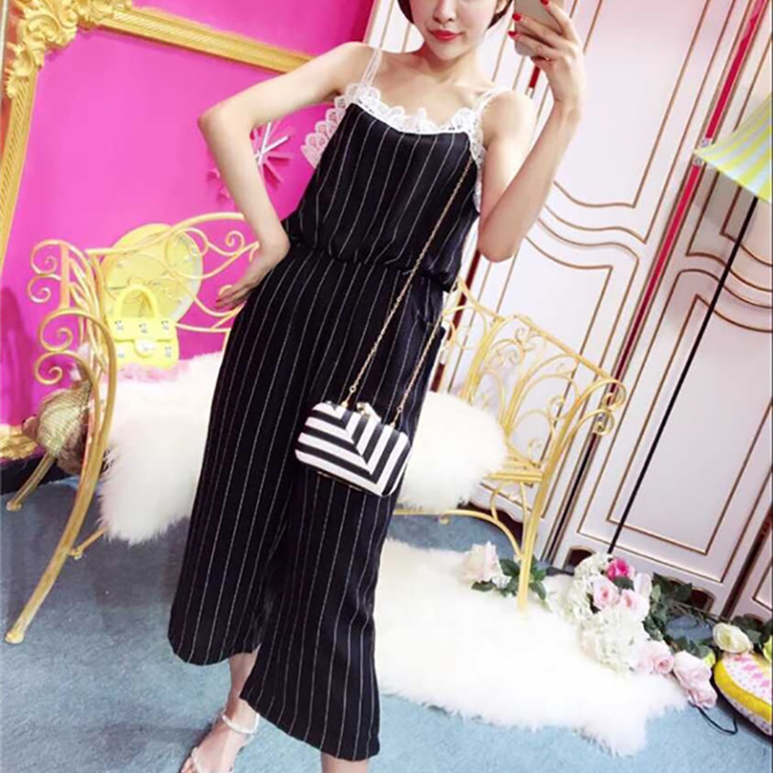 Large size womens wear with suspenders dress and trousers black white stripe white lace loose age reduction 1145