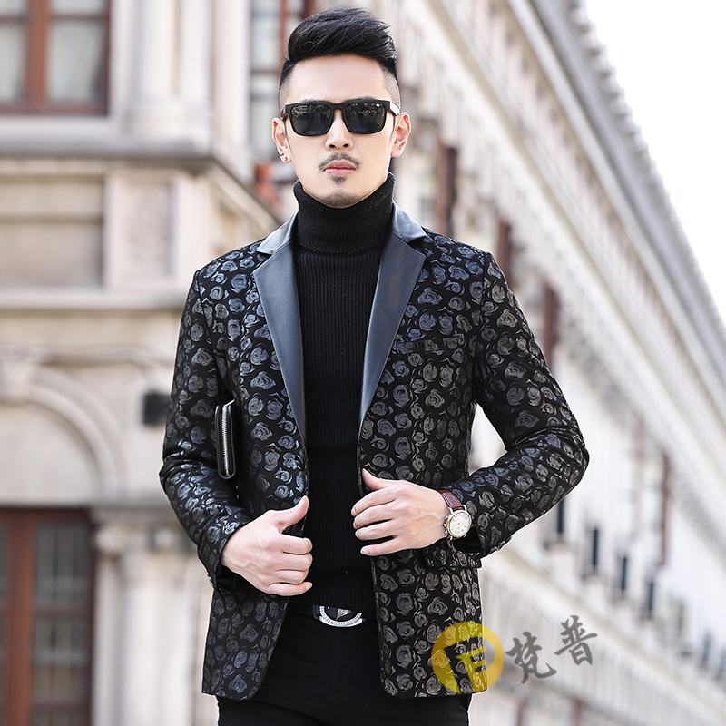 Leather men's leather sheepskin suit lapel tide print men's leather suit slim fit autumn and winter mid-length cotton jacket