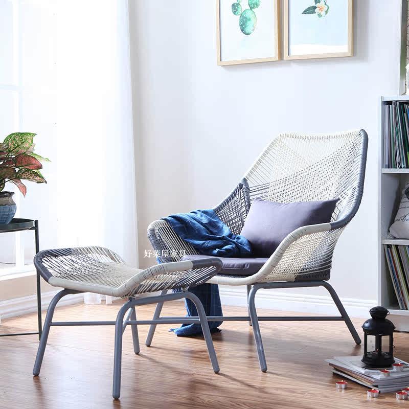 户外椅子庭院藤编阳台桌椅三件套家具阳台藤沙发茶几庭院藤椅茶几